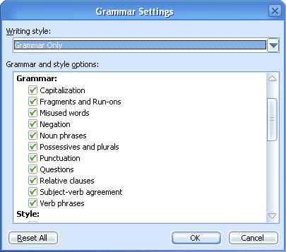 grammar settings